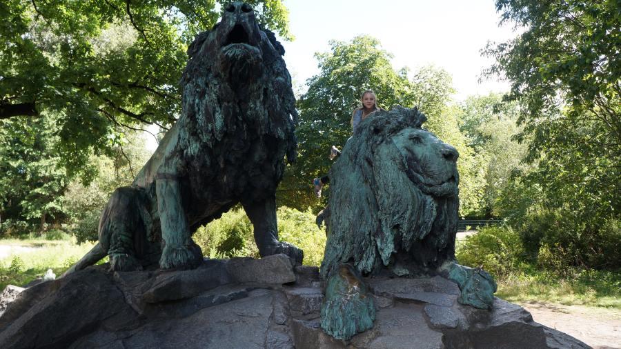 Скульптуры-львов
